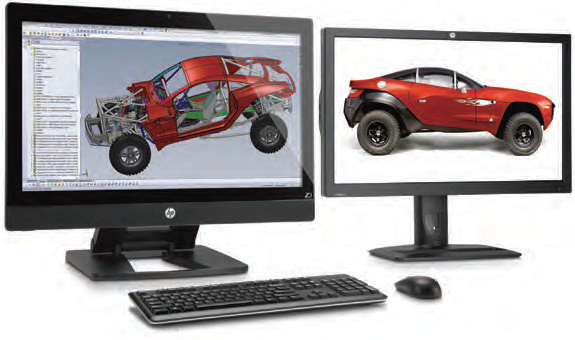 The HP Z1, with all components integrated inside the monitor, can accommodate one additional monitor for extra screen real estate.