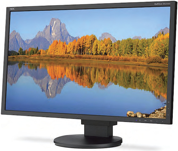 The NEC MultiSync EA243WM monitor features capacitive touch controls and a stand that rotates, tilts, pivots, and adjusts in height.