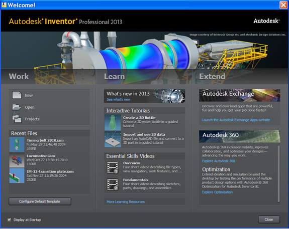 Figure 1. Do you feel welcome? The new Welcome screen in Inventor Professional 2013 mimics that of AutoCAD 2013.