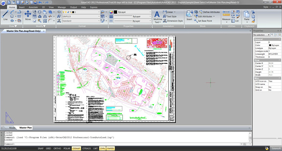 A sample DWG file as it appears in GStarCAD Professional 2012.
