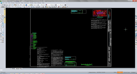 A sample DWG file as it appears in IronCAD DRAFT 2012.