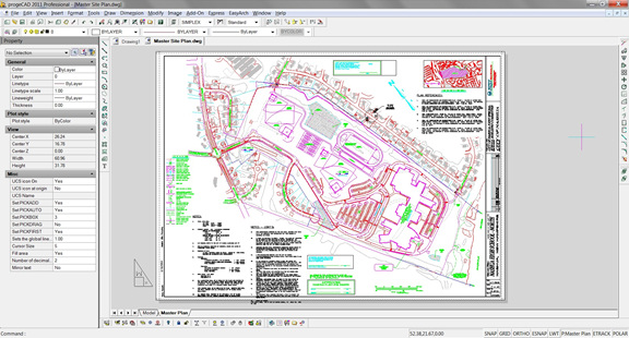 A sample DWG file as it appears in progeCAD 2011 Professional.