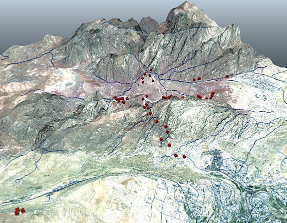 The red squares on this map indicate high-resolution GPS points marking the locations of primary tomb facades in Petra. At ±2–4 cm accuracy, it is the most accurate location data ever collected in the valley.