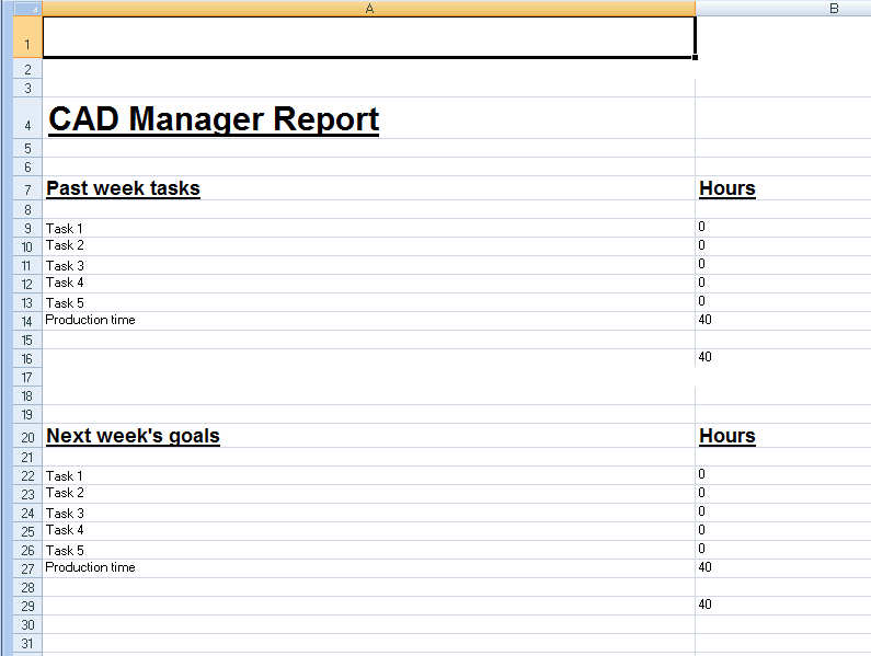Spreadsheet Template for Weekly CAD Manager Reports | Cadalyst