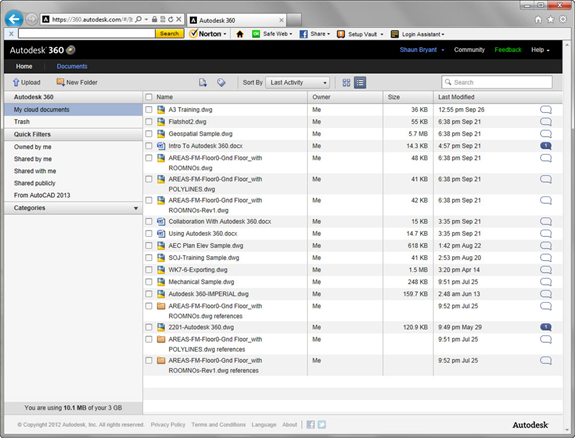 Figure 1. Within Autodesk 360, you have 3 GB of free storage. From the dashboard, you can see a list of documents with information for each indicating the owner, size, date when it was last modified, and whether there are any current comments.