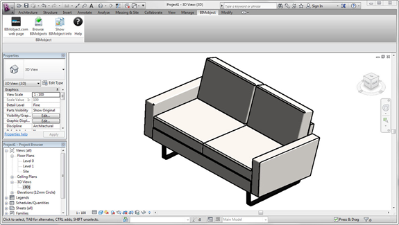 With just a few clicks, I inserted this BIMobject sofa in a Revit Architecture 2013 project.