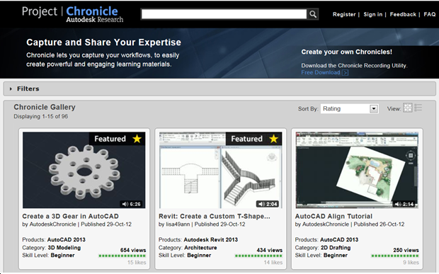 Autodesk Project Chronicle web site