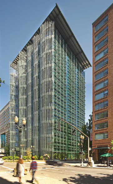 The renovated Edith Green–Wendell Wyatt Federal Building is shown in its setting in Portland, Oregon.