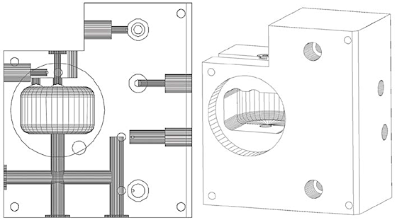 Figure 1. At left is the early block design of our oxygen analyzer (front view), modeled in TurboCAD v4 or so. The dark areas are holes drilled for gas passages, and we placed an oxygen sensor in the pocket on the left front. At right is a hidden line rendering of the current assembly, modeled in TurboCAD v20.