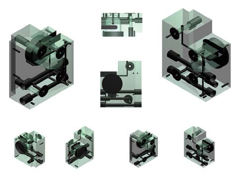 Figure 3. Various views of the negative of the oxygen analyzer block. To generate these views, I put the negative into a glass copy of the main block and rendered the whole thing.
