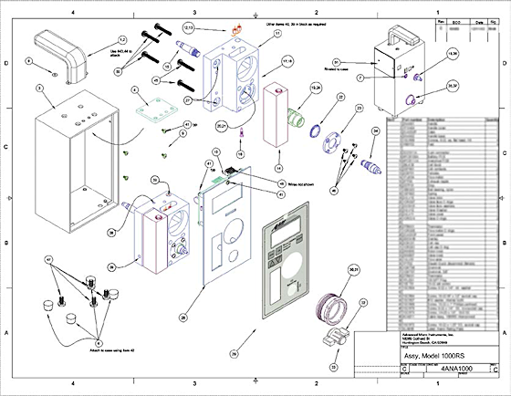 "Figure 4. A typical assembly drawing, made in TurboCAD 16 or so. All the widgets are modeled in 3D, and the screws are probably taken from vendors' ACIS models, though I may have made some myself. (Everything here is rendered in hidden line; I did that for printing this example as a PDF.) The flat piece at bottom center, labeled with ""AMI,"" is a printed piece of plastic with built-in electronic switches, drawn in Corel Draw, turned into a JPG image, and applied to the surface of a sheet. It was a real pain to get the drawing scale and positioning right."