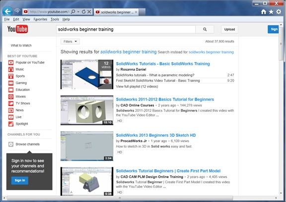 A search for SolidWorks training materials returned 37,800 results!
