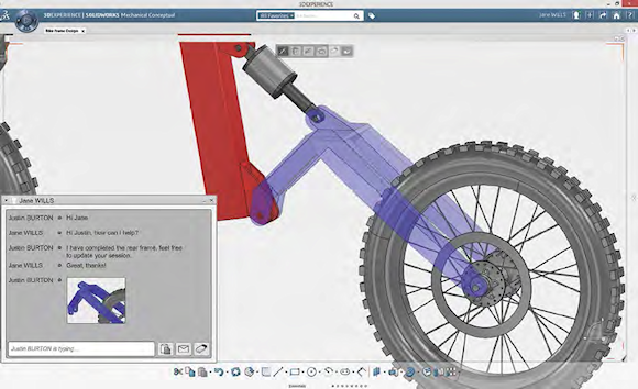 Conceptual design software tools facilitate collaboration. For example, in SolidWorks Mechanical Conceptual (shown to the left and on p.20), users can message each other in real time to discuss a design.