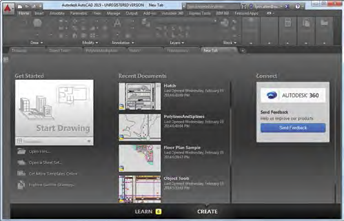 Figure 2. The New tab now displays when you launch AutoCAD, making it easy to open a new or existing drawing.