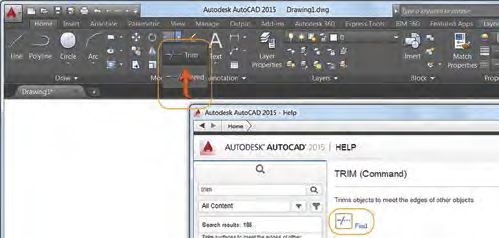 Figure 3. Can't find a tool in the ribbon? AutoCAD Help to the rescue!