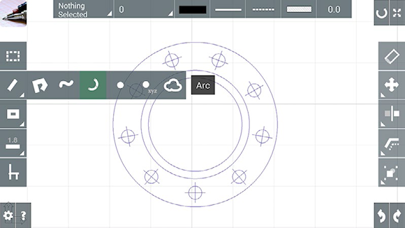 The cadTouch tool palettes, with flyout menus for drawing tools, are easy to use.