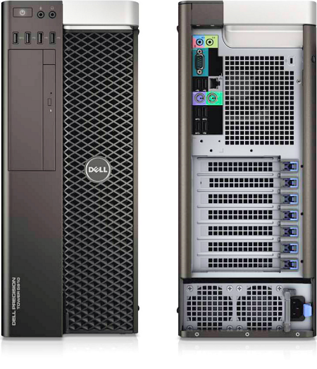 Front and rear views of Dell's premium single-socket tower workstation, the Dell Precision Tower 5810. Image courtesy of Dell.