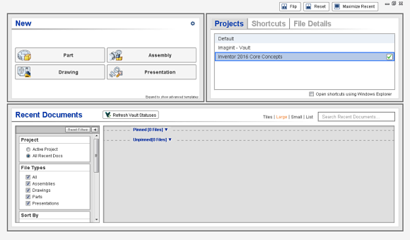 Figure 1. The Inventor Home Page has been redesigned offering many more productivity tools.