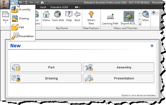 Figure 2. The dropdown menu beside New in the quick access toolbar.