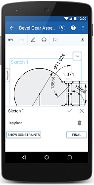 Onshape sketching functionality is shown on an Android mobile phone.