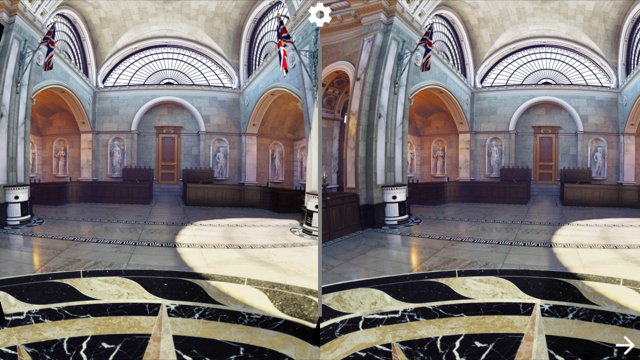 Scope processes rendered panoramas into twinned imagery, so that each eye has its own perspective. When the panorama is displayed in a Cardboard-type viewer, this results in a 3D effect that helps users feel that they are standing inside the rendered room. A button on the viewer activates the gear icon pictured at top, enabling the user to select different panoramas while the app is in use.