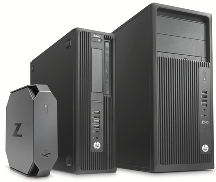 The HP Z2 Mini (left), beside the HP Z240 SFF and HP Z240 full-size workstations.