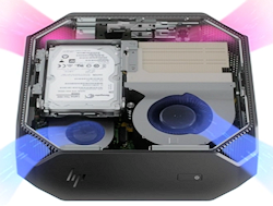 Unlike most tower workstations, which circulate air from front to back, the HP Z2 Mini draws on a unique corner-to-corner airflow to keep components cool in tight quarters.