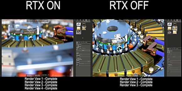 SolidWorks Visualize renderer running on the Quadro RTX 4000, with RTX technology enabled (left) and without (right). An RTX 4000 leveraging newly integrated Turing ray-tracing acceleration could run around 33% faster than without. Image source: NVIDIA.