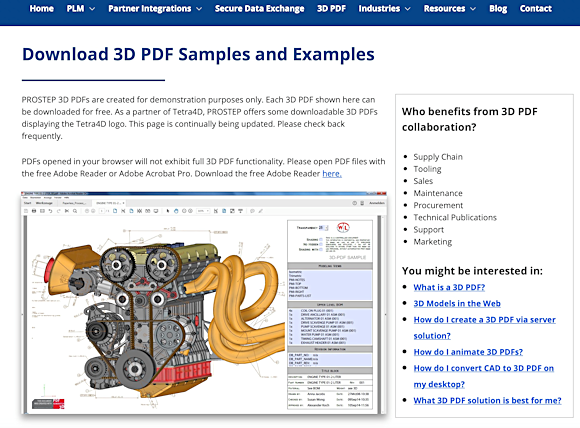 Figure 2. 3D PDF files can be used for a variety of file sharing needs, such as design and operation reviews, training manuals and sales parts catalogs. You can view sample 3D PDF files at PROSTEP.us.